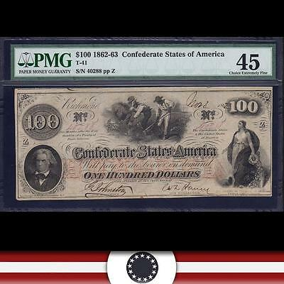 T-41 1862 $100 CONFEDERATE 'HOER' Banknote. PMG 45  40288