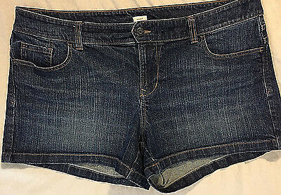 OLD NAVY Stretch Denim Low Rise Dark Wash Jeans Short Shorts, Plus Size 16