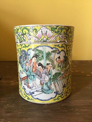 Antique Chinese Canton Yellow Ground Porcelain Box, Qing Dynasty
