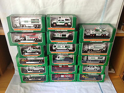 (17) Hess Mini Trucks 1998-2014 Direct From The Factory Case-Complete Set-Mint
