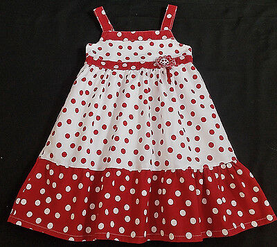 Baby girl dress summer sun red white 12-18 months