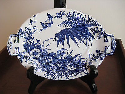 ANTIQUE STAFFORDSHIRE BLUE & WHITE PIN TRAY BERLIN PATTERN c 1879