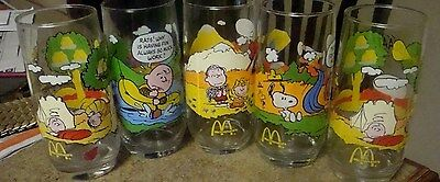 vtg lot of 5  SNOOPY Peanuts Glass TUMBLERS Camp Collection  McDonald's