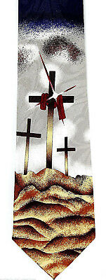 NEW! 3 Three Crosses on a Hill EASTER Religious Church Novelty Necktie  530