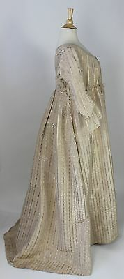 Antique Dress White Moire Polychrome Floral Gown American c.1795 MET Museum