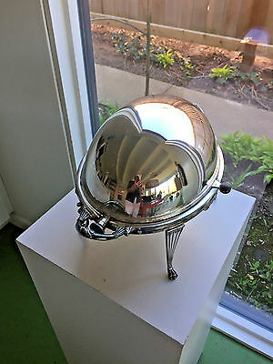 Walker & Hall Sheffield England Silverplate Roll Top Dome Chafing Warmer No Mono