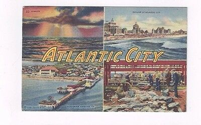 NJ Atlantic City New Jersey 1953 linen post card BIG LETTERS & Four Views