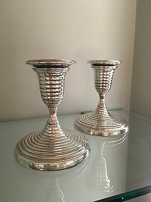 "PAIR OF SILVER ANTIQUE ""Beehive/Michelin""  VINTAGE CANDLESTICKS  c. 1800"