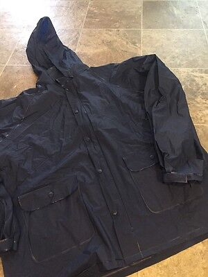 Adult M L Stearns Navy Rain Coat Zip Up Hooded Fishing Outdoor Camping Jacket