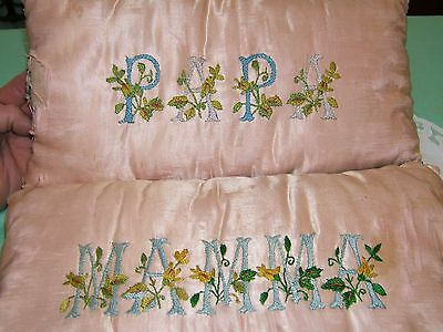"2 vtg Antique Small Silk Embroidered Needlework Flowers Pillow ""mamma & papa"""