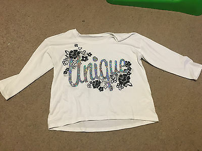 Girls Justice White Top Shirt 3/4 Sleeve Size 10