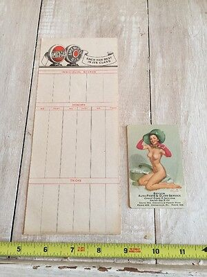 L787 Vintage Amoco Gas Score Sheet And Sinclair Gas Girl Pin Up Card
