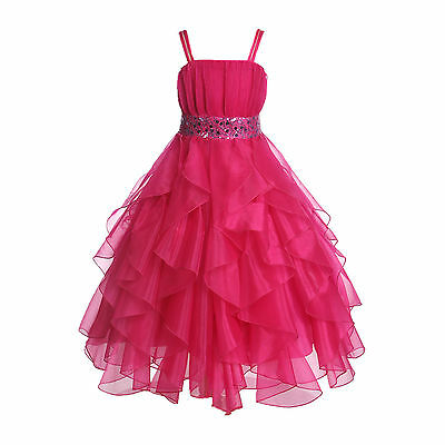 Wedding Stunning Organza Spaghetti-Straps Pleated Ruffled Flower Girl Dress #009