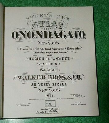 Reprint of 1874 ONONDAGA COUNTY NEW YORK Atlas Maps History Homer Sweet's