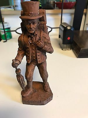 German Carved Wood Clockman 8""