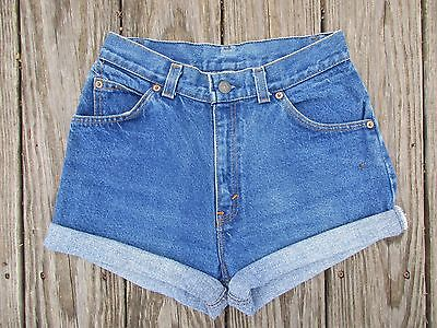Vintage Levis High Waist Denim Cutoff Shorts Cuffed 9 26 Waist Levi's