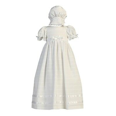 Lito Baby Girls White Embroidered Cotton Long Dress Bonnet Baptism Set 0-3M