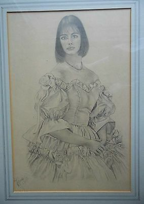 Great Vintage Lge Portrait Pencil Drawing Pretty Girl  Sgnd and Dated by Artist.