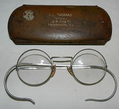 Vintage Eyeglasses Silver-tone with round lenses - Shuron - with metal case