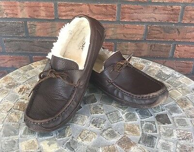 Mens UGG Slippers Dark Brown Size 9 Slip On Lace Up Loafer Hard Sole Shoes