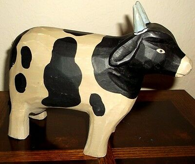 Vintage Wooden Hand Carved Cow Figurine Carving Folk Art painted