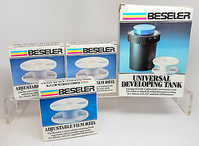Beseler Universal Developing Tank with Three Extra Film Reels 35,126,127,120/220