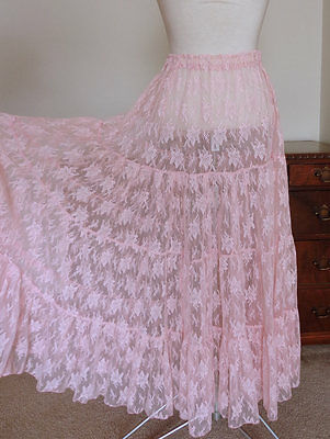 Vintage 80s 90s Sheer Lace Tiered Prairie Skirt HIgh Waist Midi One Size S M L