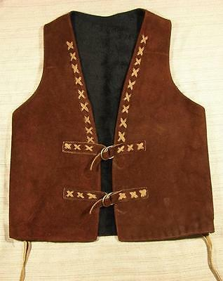 70's vintage Suede Leather Hippie Pile Lined Vest Small boho