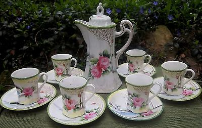 "13 pc. Vintage CHOCOLATE POT & CUP SAUCER SET tea ""MADE IN JAPAN"" PINK ROSE"