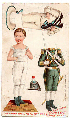 Old Advertising Trade Card~Light Running Domestic Sewing Machine PAPER DOLL BOY