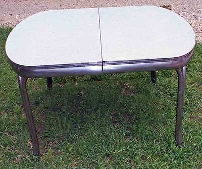 Vintage Metal & Formica Cracked Ice Top Dinning / Breakfast Mid-Century Table
