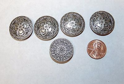 Vintage Button Covers, Pressed Silver Tone Scroll Design, Set of 4 Plus 1 More