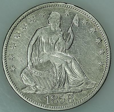 1858 Seated Half Dollar! Au Details! 50C! Us Coin Lot #3551