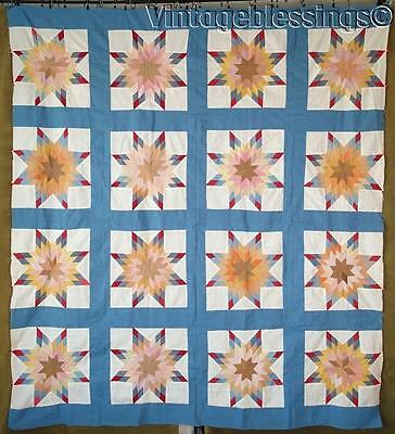 "Sparkling Antique c1920s Blazing Star QUILT Top 73"" x 66"" Beautiful!"