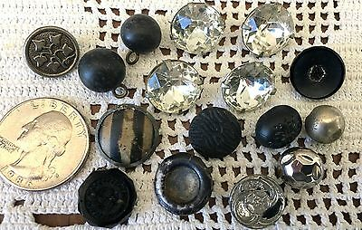 Antique Victorian Metal and Glass Button Lot ~  Pretty Designs ~ MOP 16 pc.