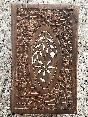 Vintage Hand Carved Wood Box Inlaid Moroccan Antique Jewelry