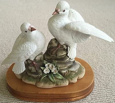 Royal Crown 2 Hand Painted White Porcelain Doves on Solid Wood Stand