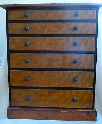 Antique COLLECTORS CABINET Graduated Drawers Original Hardware Sectioned