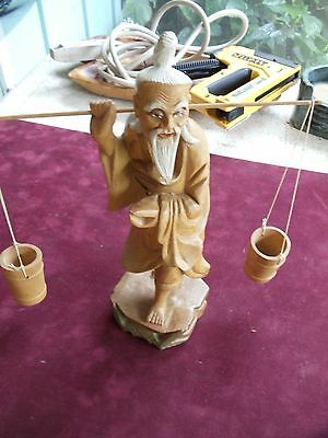 Vintage Carved Wood Oriental Man Carring 2 Buckets