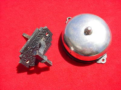 Antique Victorian Chrome/Brass Mechanical Door Bell with Cast Brass Lever Pull
