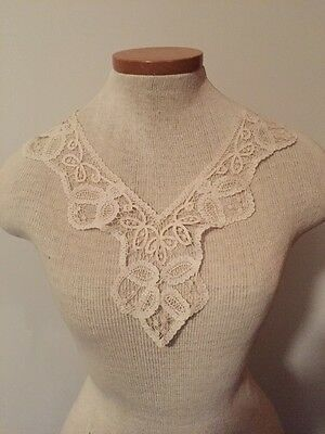 Antique vintage victorian handmade lace collar intricate Ivory