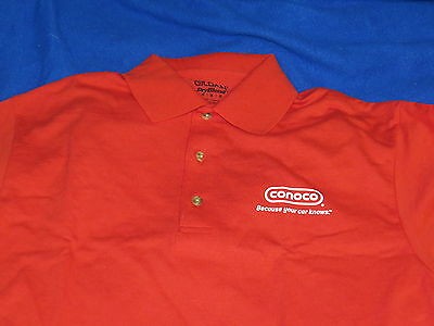 Conoco NEW Polo Shirt (M) gas station pump oil grease Chemicals Red