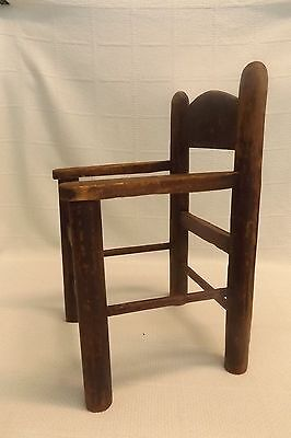 Antique handmade primitive  child's doll wooden chair