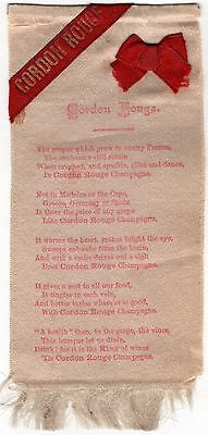 Very Old CORDON ROUGE CHAMPAGNE Silk Ribbon / bookmark w/ Advertising Poem