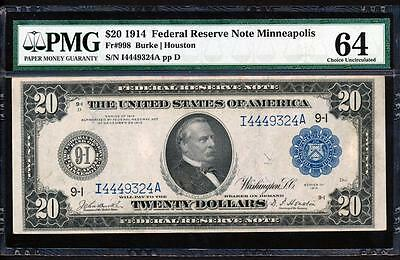 "Fr.998 1914 $20 MINNEAPOLSI FRN ""BURKE-HOUSTON"" + PMG CHOICE NEW UNCIRCULATED 64"