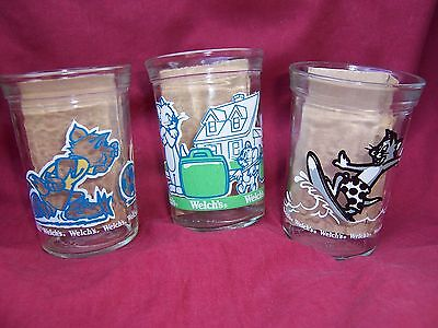 1990's Welch's Tom & Jerry  Jelly Glass Jars Lot of 3 Surfing Soccer The Movie