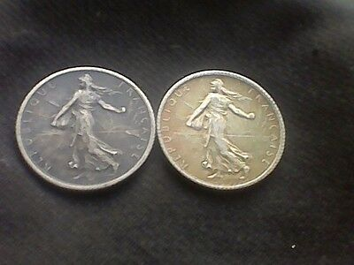 1915 & 1917 France 1 Francs KM#844.1 - 2 Silver Coins