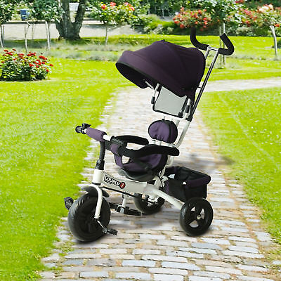 HOMCOM Kids Tricycle White Purple Smart Trike Ride on 3 Wheels Safety Canopy