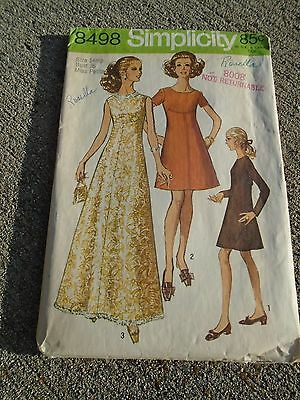Vintage 1960s sewing pattern Simplicity Maxi Dress 8498 Miss 14 Petite evening