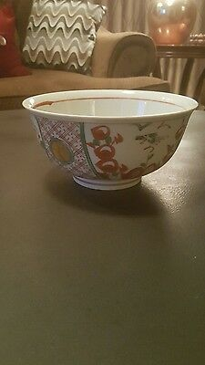 ASIAN Japanese Red Green & Gold IMARI Large Porcelain Rice Noodle Bowl Signed